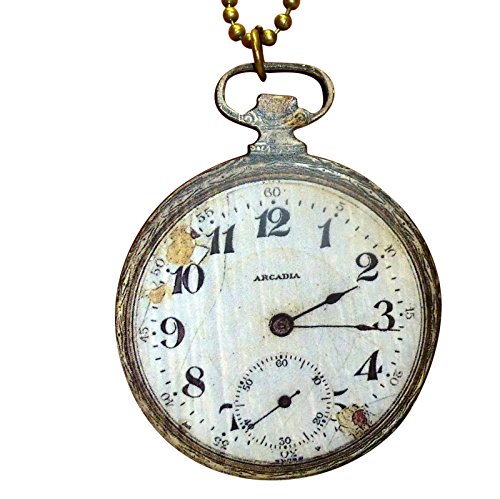 SteAMPunk pocket WAtch necklace AnTIque worn out style comes in FrEE GiFt BoX (Hadcrafted w1) ()
