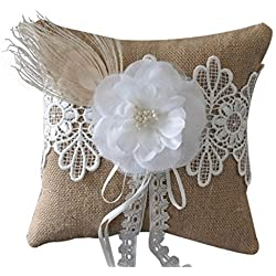 SPHTOEO Vintage Feather flower ring pillow natural garden bride wedding 6 inch x6 inch