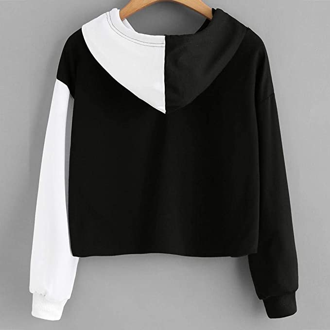 Amazon.com: XMNDS Women Ladies Sweatshirt Hooded Long Sleeve Crop Patchwork Blouse Pullover Tops: Home & Kitchen