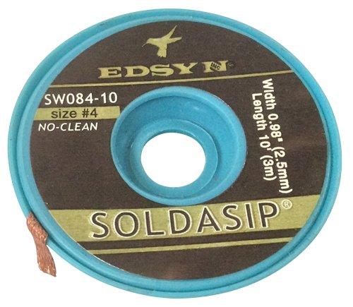 Desolder Braid .098in.x10ft 2.5mm x 3m No-Clean White Size #4