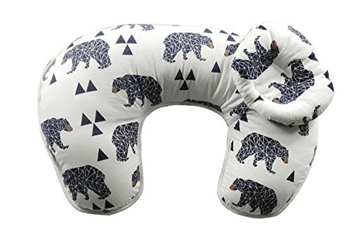 Nursing Pillow with Bonus Head Positioner U-Shaped Comfortable for both Mother and Baby - Removable Cotton Cover- Easy to Wash (Black bear)