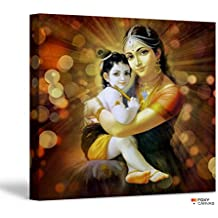 FoxyCanvas Lord Krishna / Baby Krishna / Bal Krishna with Maiya Yashoda / Sri Krishna Giclee Canvas Print Stretched and Framed Wall Art for Home and Office Decorations 16x16 inch