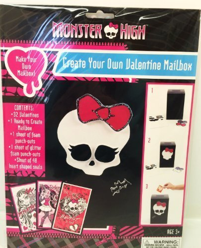 Monster High Create Your Own Valentine Mailbox Plus 32 Cards, Stickers and Glitter Punch-outs ()