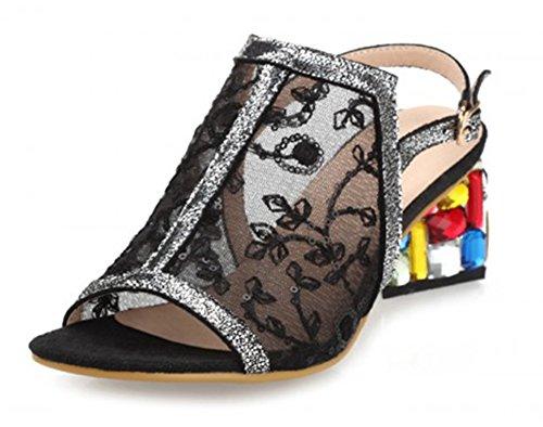 Damen Pumps Sandalen Aisun Toe Peep Bunt Slingback Blockabsatz Schwarz Kristall BqxwawPp