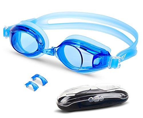 EVEREST FITNESS Schwimmbrille mit Antibeschlag-Schutz, flexiblem Silikonband und Aufbewahrungsbox | 2 Jahre Zufriedenheitsgarantie