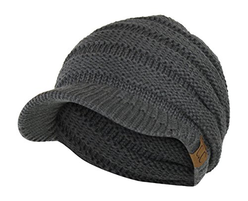 Folie Co. Charcoal Cable Ribbed Knit Beanie Hat w/Visor Brim - Chunky Winter Skully Cap