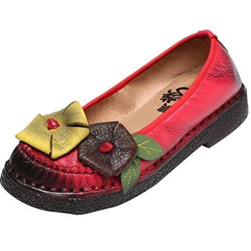 Mordenmiss Mujeres New Spring Summer Patrón De Flores Hecho A Mano Zapatos Planos De Cuero Mocasines Estilo 2 Rojo