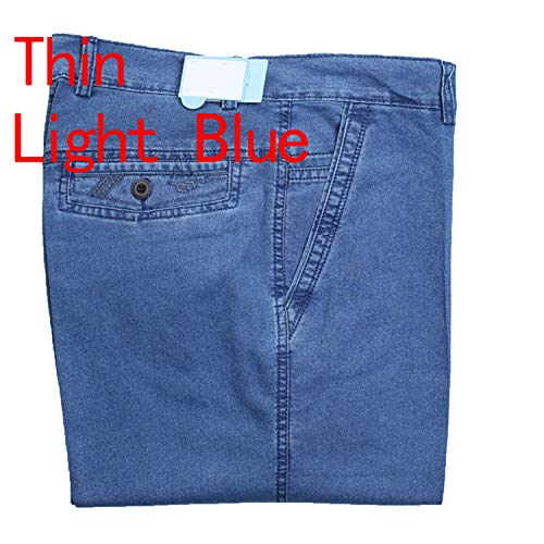- Jeans Man Middle-Aged Denim Jeans Middle Waist Loose Pants Jeans Big Size 40 42,Thin Light Blue,38