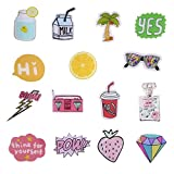 ONINIT Acrylic Brooches Set Funny Letter Fruit Pin for Clothes/Bags/Backpack (15 pieces)