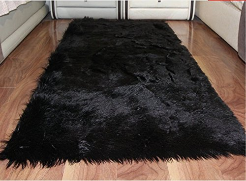 HUAHOO Faux Fur Sheepskin Rug Black Kids Carpet Soft Faux Sheepskin Chair Cover Home Décor Accent for a Kid's Room,Childrens Bedroom, Nursery, Living Room or Bath. 5' x 7' Rectangle by HUAHOO