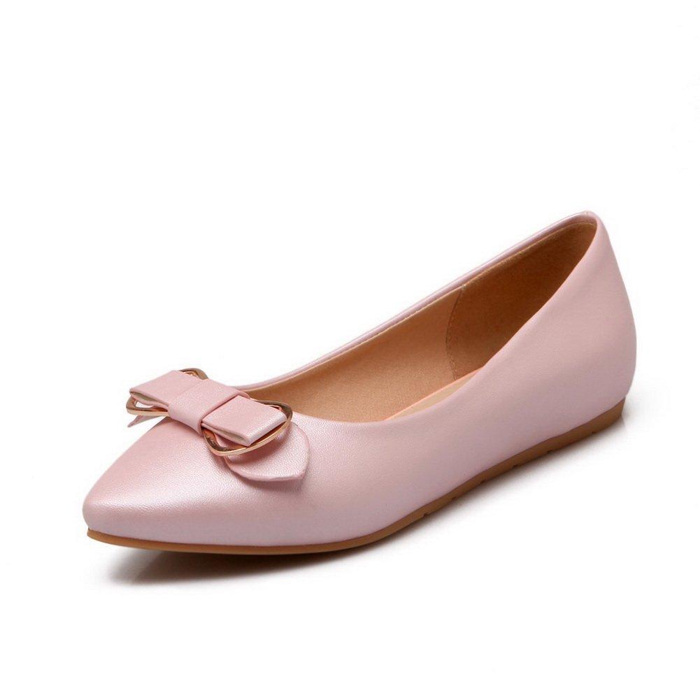 BalaMasa Girls Metal Bowknot Pull-On Pink Soft Material Flats-Shoes - 5 B(M) US
