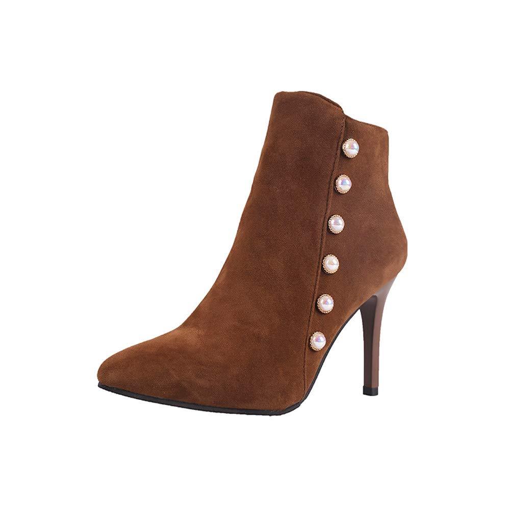 Logobeing Botines Mujer Tacon Ocio Zapatos de Perlas Antideslizantes con Cordones de Tacón Fino Tubo Corto Botas Martin Zapatos Plataforma Mujer: Amazon.es: ...