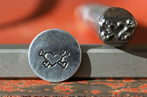 SUPPLY GUY 5-7mm Single Metal Punch Design Stamp: Heart 2 Series, Made in USA (not a set) (Heart and Crossbones 2 K-16)