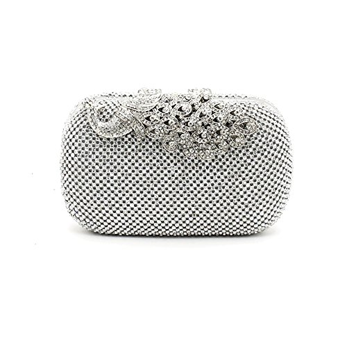 (Kingluck Rhinestone Women Polyester/Metal Minaudiere Clutch/Evening Bag(in More Color) (silver))