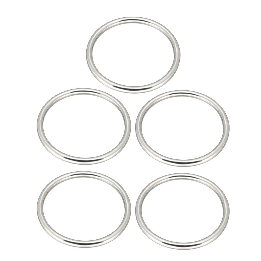 sourcing map 5 Pcs Multi-Purpose Metal O Ring Buckle Welded 58mm x 50mm x 4mm for Hardware Bags Ring Hand DIY Accessories