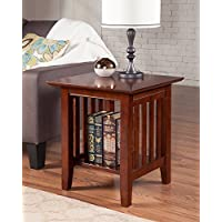 Atlantic Furniture AH14204 Mission End Table Rubberwood, Walnut