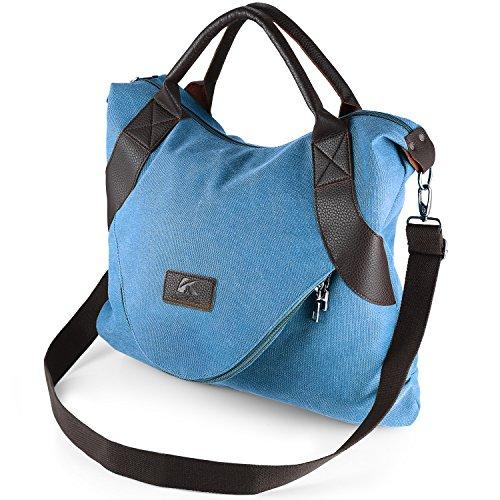 Vintage Canvas Shoulder Bag for Women, Large Capacity Top-Hanle Bag Messenger Bag by Aizbo Bule
