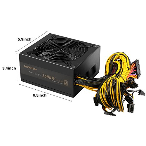 TroheStar Power Supply 1600W 80+ Gold Mining Machine Multichannel PSU 90% High Efficiency For Antminer Bitcoin Ethereum A3 D3 R4 S9 by TroheStar (Image #6)