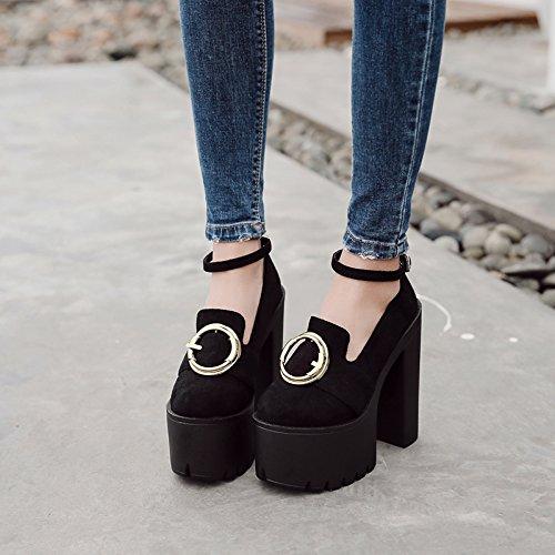 GTVERNH-Negro 8.5Cm Tacones Gruesos La Primavera Y El Verano Escenario Pasarela Zapatos Zapatos Botas De Tacón Mujer Club Treinta Y Siete Thirty-six