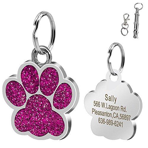 Didog Large Glitter Paw Print Custom Pet ID Tags for Medium