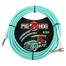 """Pig Hog PCH20SGR 1/4"""" Straight to 1/4"""" Right-Angle Seafoam Green Instrument Cable, 20 feet"""