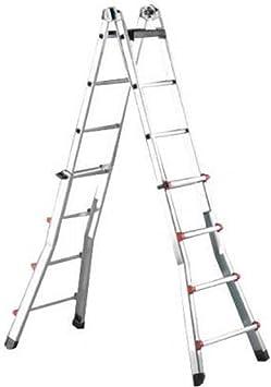 Escalera de aluminio con 7 peldaños y 7 peldaños telescópicos.: Amazon.es: Bricolaje y herramientas