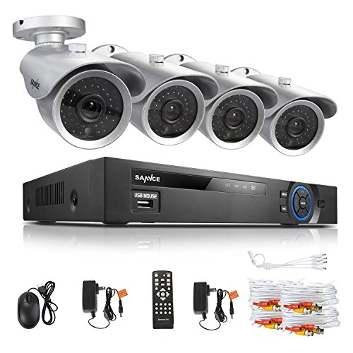 SANNCE 8CH Complete 960H Security DVR QR Code Quick Remote Security Camera System with 4 Outdoor 700TVL Surveillance Indoor/Outdoor Night Vision Weatherproof CCTV Surveillance Camera 500GB HDD