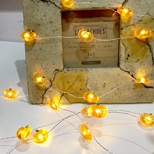 Jack-O-Lantern Orange Pumpkin String Lights - 10ft 40LEDs Long Battery Operated Copper Wire With the Remote & Timer for Indoor/Covered Outdoor/Autumn Parties & Home/Dorm Room Decorations by MIYA LIFE (Image #5)