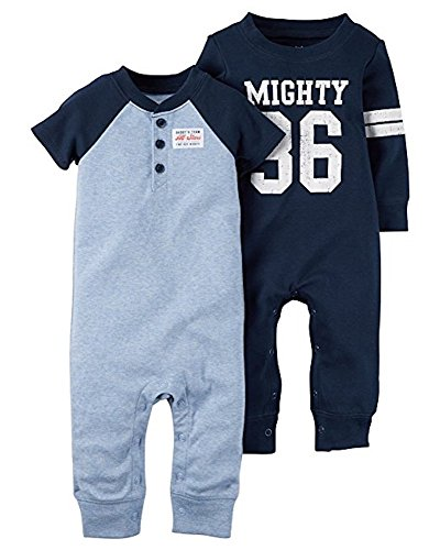 Carter's Baby Boys 2-Pack Cotton jumpsuits Coveralls Set Blue (Newborn)