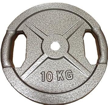 Discos de pesos para barras y mancuernas, 10 kg con empuñadura handlegrip: Amazon.es: Deportes y aire libre