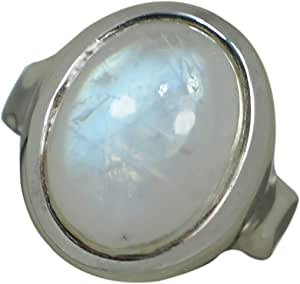 Rainbow Moonstone Two Tone 9 Ct Gold 925 Sterling Silver Ring Size 7 SR-68
