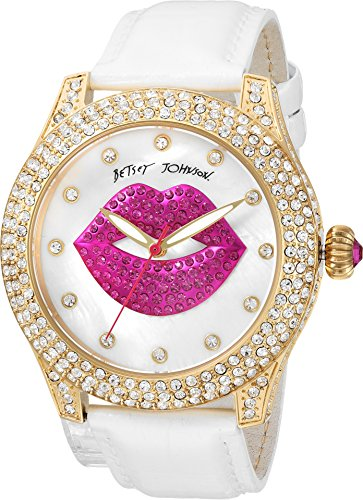 (Betsey Johnson Women's BJ00019-72 - Crystal Lips Strap White One Size)
