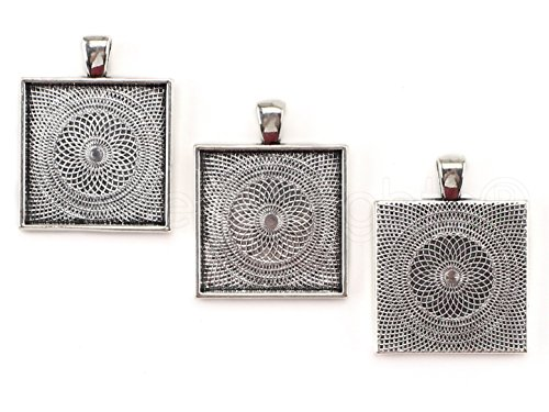 (CleverDelights 20 Square Pendant Trays - Antique Silver Color - 1