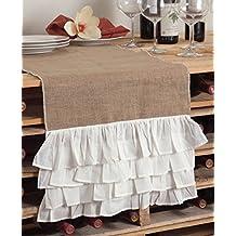 "Capucine Ruffled Natural Burlap Table Runner, White and Natural, 2 Sizes (16""x72"" Rectangular)"