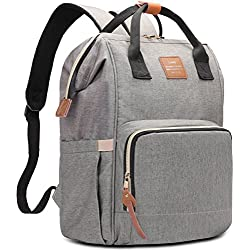 HaloVa Diaper Bag Multi-Functional Portable Travel Backpack Nappy Bags for Baby Care, Water-Resistant, Large Capacity, Stylish and Durable, Leather Tag Gray
