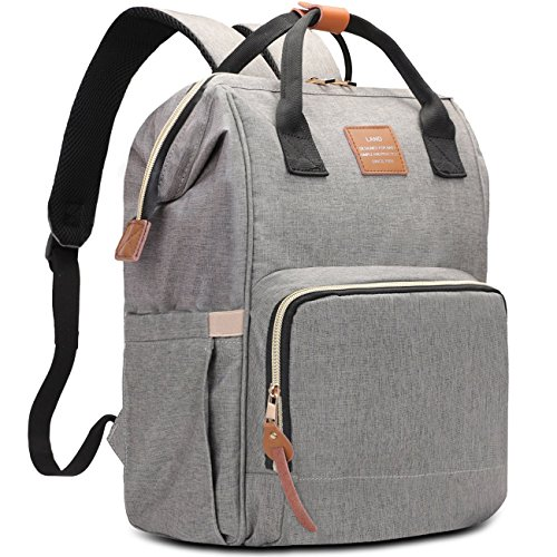 HaloVa Diaper Bag Multi-Functional Portable Travel Backpack Nappy Bags for Baby Care, Water-Resistant, Large Capacity, Stylish and Durable, Leather Tag, Gray