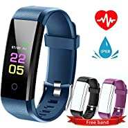 Fitness Tracker Hr, kids Activity Tracker Watch Android With Heart Rate Monitor, Waterproof Fit tracker Watch With Sleep Monitor Smart Bracelet with Calorie Counter Pedometer Watch for Women men ...