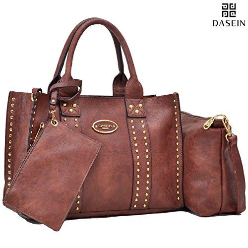 Faux Leather Satchel Handbag - Dasein Designer Tote Purse Satchel Handbag Faux Leather Shoulder Bag Top Handle Bag