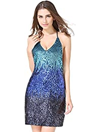 Womens Glitter Sequin Gowns Backless V Neck Party Sexy Mini Clubwear Prom Dress Not Itching