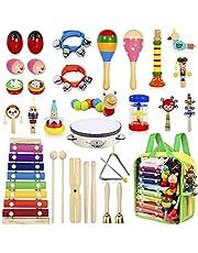 AILUKI 27 stycken musikinstrument musikinstrument set, trä slagverk set trummor trummor rytm leksaker musik barnleksaker för småbarn
