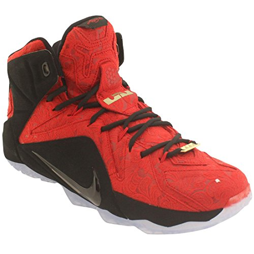 Nike LeBron XII EXT - Zapatillas para hombre Rojo University Red/University Red-Black-Metallic Gold Red