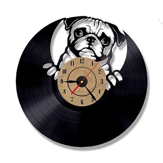 Cute Puppy Dog Design Reloj de Registro 3D Iluminación LED Arte de la Pared Vinyl Record Clock Amimal Silhouette Kids Room Decor Reloj Colgante: Amazon.es: ...