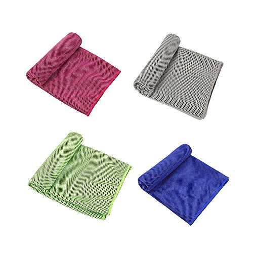 Pasiyou 4 Packs Cooling Towel (36''x 12''), Ice Towel, Microfiber Workout Towel,Fast Dry, Lightweight, Absorbent, Compact, Soft-Perfect Beach Yoga Fitness Bath Camping Gym Towels. by Pasiyou