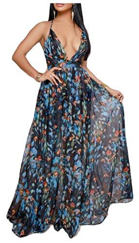 Jaycargogo Womens Boho Profonde Sexy V Cou Floral Imprimé Plage Dos Nu Maxi Longue Robe 3