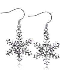 Snowflake Charm Bridesmaid Hook Earrings Wedding Jewelry