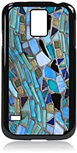 Blue Mosaic Pattern - Case for the Galaxy S5 i9600- Hard Black Plastic Snap On Case
