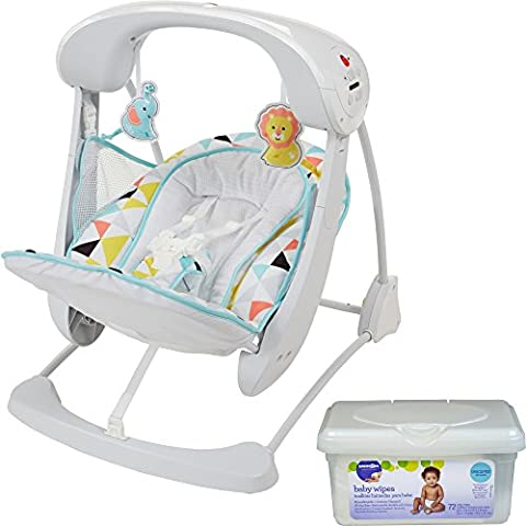 Fisher Price Take Along Infant Deluxe Platform Smart Vibration Stationary Baby Swing with 2-Piece Plush Toys and Wipes