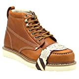 Golden Fox Steel Toe Men's Lightweight Work Boots Moc Toe Boot Insulated (9 D(M) US, Brun)
