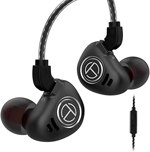 TRN V90 IEM Earphones 4BA 1DD Hybrid Drivers Headphone, Senlee HiFi in Ear Earbuds 1 Dynamic and 4 Balanced Armature Drivers with Detachable 2 Pin Cable with Mic, Black