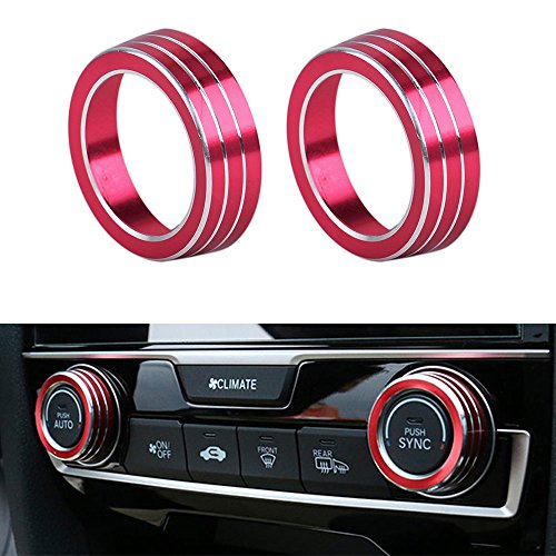 Thor-Ind Aluminum Air Condition AC Switch Buttons Cover Trim For Honda Civic 10th Gen 2016 2017 2018 Air Conditioning Climate Control Ring Knob Trim Ring Sticker 2pcs/set (Red)